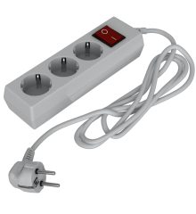 Удлинитель 3-постовой 3м с заземлением и выключателем